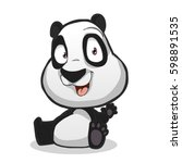 vector of a funny cartoon panda ... | Shutterstock .eps vector #598891535