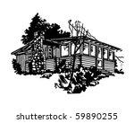 Simple Cabin   Retro Clip Art