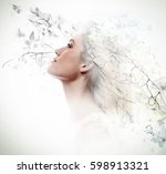 double exposure of beautiful... | Shutterstock . vector #598913321