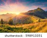 amazing summer sunrise in... | Shutterstock . vector #598913351