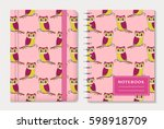 notebook cover design with... | Shutterstock .eps vector #598918709