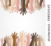 raised hands up together with... | Shutterstock .eps vector #598924145