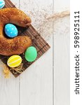 easter eggs in the nest and... | Shutterstock . vector #598925111