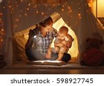 reading and family games in... | Shutterstock . vector #598927745