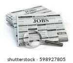 Stock photo job search loupe with jobs classified ad newspapers isolated on white d illustration 598927805