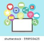 social media network concept... | Shutterstock .eps vector #598933625