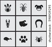 set of 9 editable zoology icons....