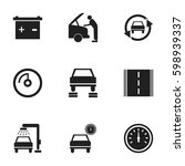 set of 9 editable vehicle icons.... | Shutterstock .eps vector #598939337