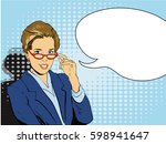 business woman in red glasses... | Shutterstock . vector #598941647
