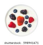 bowl of yogurt with berry... | Shutterstock . vector #598941671