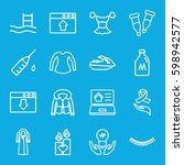 drawn icons set. set of 16... | Shutterstock .eps vector #598942577