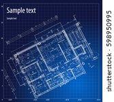 architecture grid blueprint... | Shutterstock .eps vector #598950995