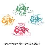 happy easter. typography... | Shutterstock .eps vector #598955591