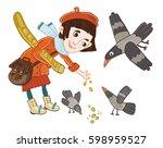 girl feeding birds | Shutterstock .eps vector #598959527