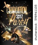 graduation party 2017 gold and... | Shutterstock .eps vector #598961105