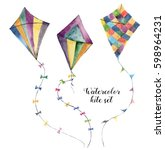 watercolor kite set with... | Shutterstock . vector #598964231