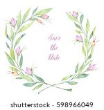 hand drawn watercolor... | Shutterstock . vector #598966049