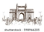 hand drawn sketch of gate way... | Shutterstock .eps vector #598966205