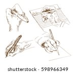 hand drawn sketch of writing... | Shutterstock .eps vector #598966349