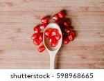 red pomegranate fruit. ripe... | Shutterstock . vector #598968665