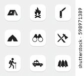 set of 9 editable camping icons.... | Shutterstock .eps vector #598971389
