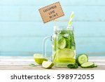 infused detox water with... | Shutterstock . vector #598972055