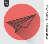 paper plane flat icon. simple... | Shutterstock .eps vector #598972919