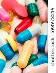 medicine green and yellow pills ... | Shutterstock . vector #598973219