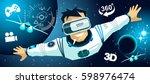 man in vr glasses video game... | Shutterstock .eps vector #598976474