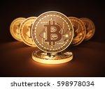 virtual coins bitcoins on brown ... | Shutterstock . vector #598978034
