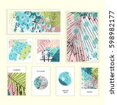universal floral posters set.... | Shutterstock .eps vector #598982177