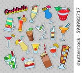 cocktails and drinks set for... | Shutterstock .eps vector #598982717