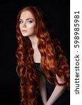 sexy beautiful redhead girl...   Shutterstock . vector #598985981