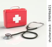 first aid kit with stethoscope. ... | Shutterstock . vector #598986821