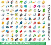 100 finance icons set in... | Shutterstock .eps vector #598989371