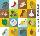 spice icons set. flat... | Shutterstock .eps vector #598989641