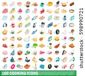100 cooking icons set in... | Shutterstock .eps vector #598990721