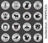 set of 16 editable nature icons.... | Shutterstock .eps vector #598991231