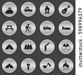 set of 16 editable travel icons.... | Shutterstock . vector #598996379