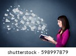 casual young woman holding book ... | Shutterstock . vector #598997879