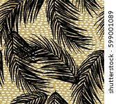 pattern with black palm leaves...   Shutterstock .eps vector #599001089