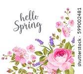 blooming spring flowers garland ... | Shutterstock .eps vector #599002481