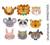 cute animals with funny... | Shutterstock .eps vector #599007455