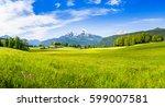 idyllic bavarian alpine... | Shutterstock . vector #599007581