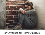 girl being struck. portrait of... | Shutterstock . vector #599012831