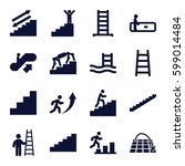 staircase icons set. set of 16... | Shutterstock .eps vector #599014484