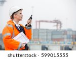side view of female engineer...   Shutterstock . vector #599015555