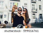 cute couple make selfie on a... | Shutterstock . vector #599016761