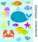 various underwater creatures  ... | Shutterstock .eps vector #59901823