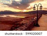 sunset in dahab lagoon  a small ...   Shutterstock . vector #599020007